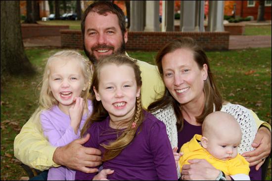 Eva Price, her husband David and the couple's three children