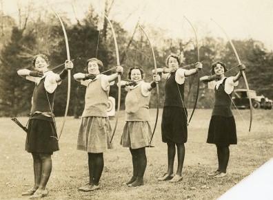 The Bryn Mawr College archery team.