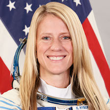 Karen Nyberg, a blond U.S. astronaut with a Ph.D. in mechanical engineering.