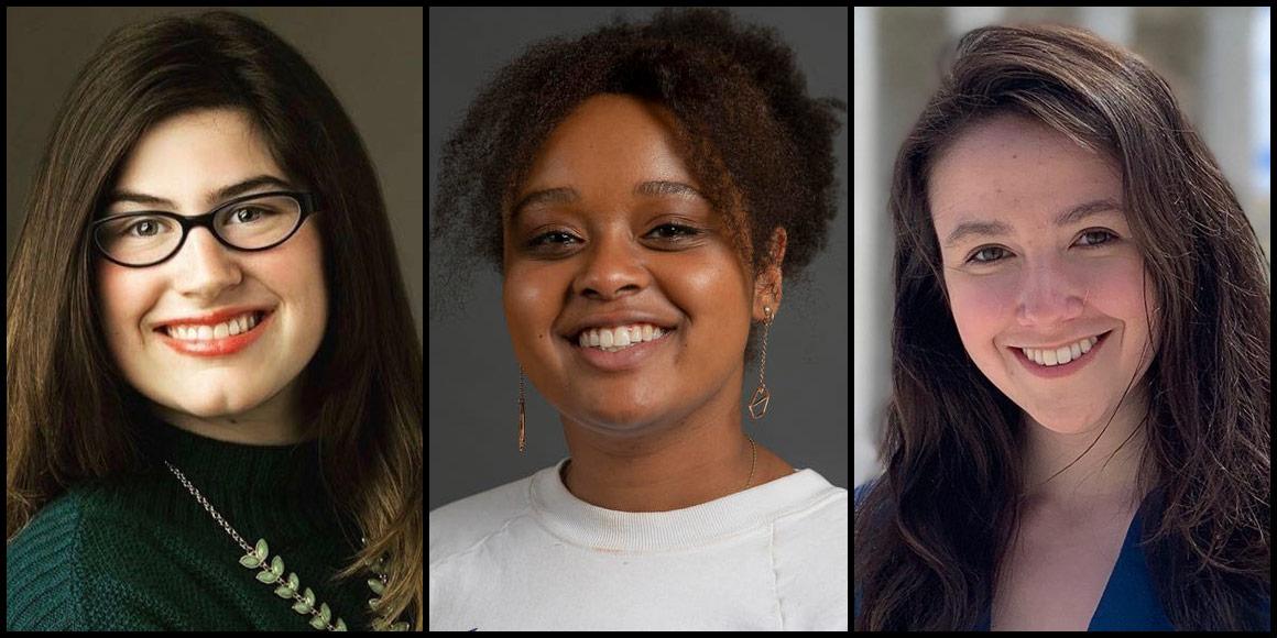 Mitchell Scholars Abigail Hickman, Joy Nesbitt and Maysa Sitar