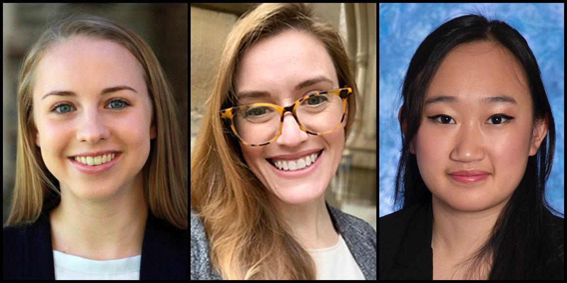 Mitchell Scholars Amelia Steinbach, Maura Welch and Selena Zhao