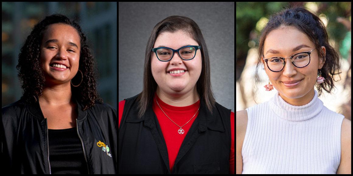 Mitchell Scholars Meghan Davis, Marilu Duque and Genevieve Finn